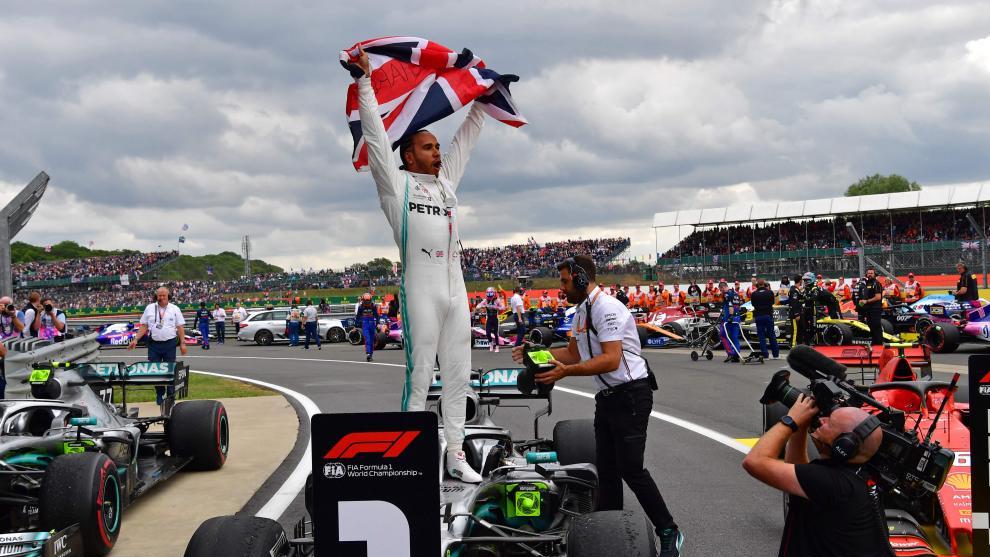 Lewis Hamilton celebrates at Silverstone.