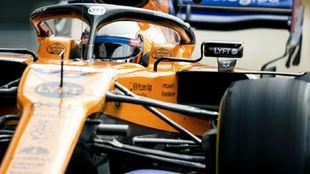 Sainz, durante la carrera de ayer en Silverstone.