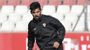 Nolito, en entrenamiento del Sevilla FC.