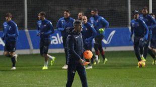 Imanol, durante un entrenamiento de la pasada temporada.