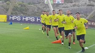 Los jugadores de Las Palmas, en una sesión de esta pretemporada en...