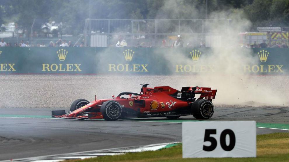 Vettel, tras su golpe con Verstappen.