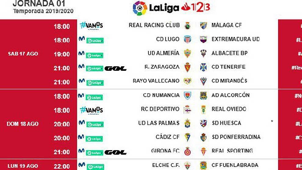 Calendario Liga Segunda.Liga 123 Ya Se Conocen Los Horarios De Las Tres Primeras Jornadas
