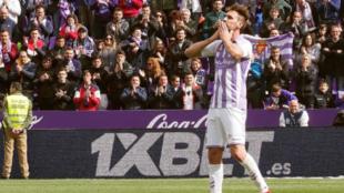 Borja Fernández en su último partido con los pucelanos