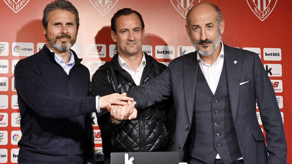 Alkorta, Etxeberria y Elizegi el día de la presentación del técnico...