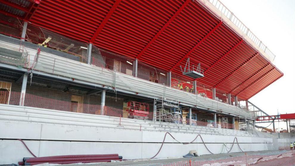 Obras del Estadi Johan Cruyff hace unos meses.