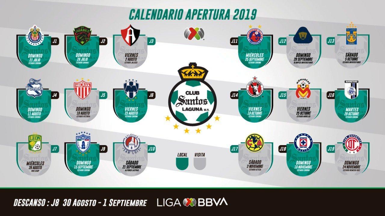 Calendario Con Santos.Liga Mx Apertura 2019 Los Calendarios De Todos Los Equipos Para El