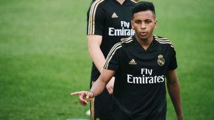 Rodrygo, durante un entrenamiento del Real Madrid en Canadá.