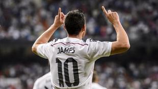 James Rodríguez celebra un gol durante su etapa en el Real Madrid.