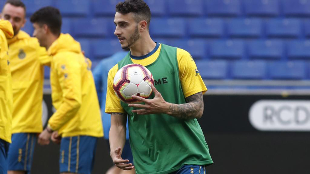 Mario Hermoso durante un entrenamiento del Espanyol