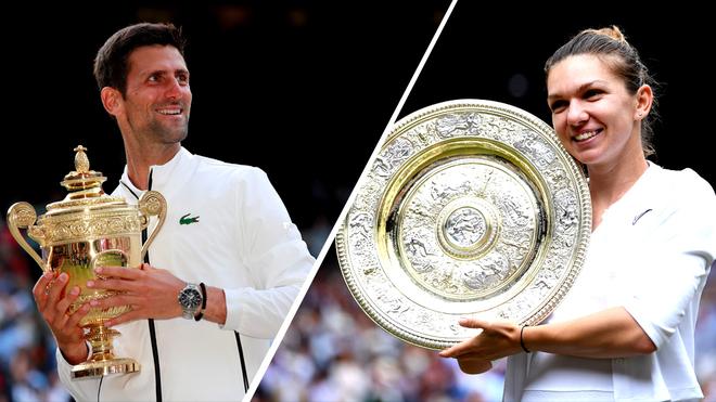 Djokovic y Halep posan con los trofeos de campeones