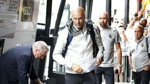 Zidane, a su llegada a Montreal el día 9.