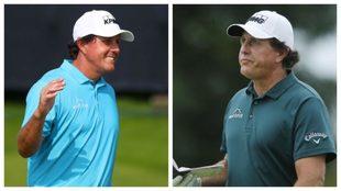 A la izquierda, Mickelson en el Open; a la derecha, hace un mes
