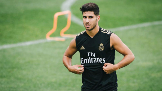Marco Asensio during one of Real Madrid's training sessions in...