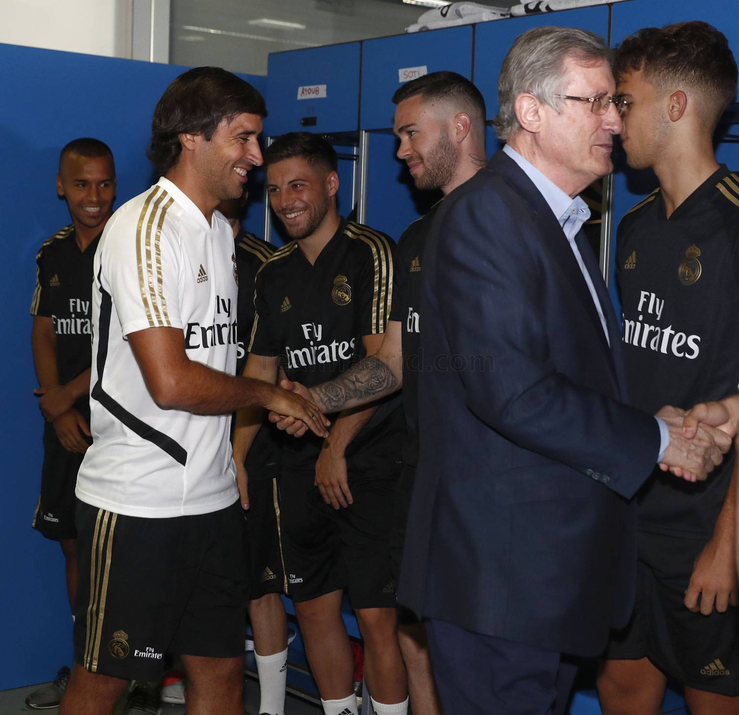 Raul greeting his new players along with Ramon Martinez.