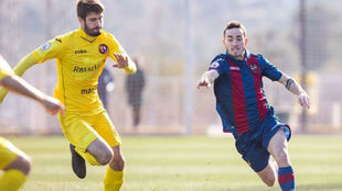Rulo, durante un partido con el Levante Atlético, el filial granota