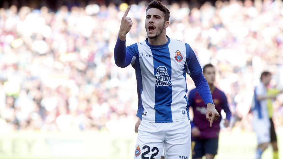 Mario Hermoso gesticulating during Espanyol's match against Barcelona...