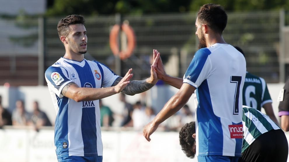 Hermoso y Borja, durante el encuentro contra el Peralada.