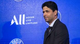Al Khelaifi, en la presentación de ALL como nuevo patrocinador del...
