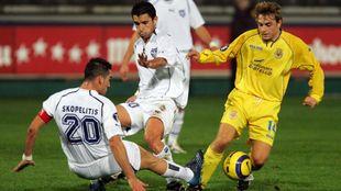 Héctor Font durante un partido contra el Villarreal