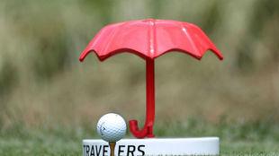 Imagen de un tee de salida en el Travelers Championship.