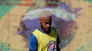 Neymar, durante un entrenamiento