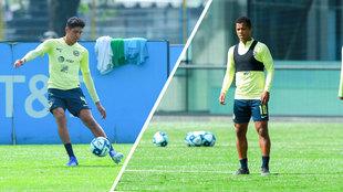 Edson Álvarez y Giovani dos Santos en el entrenamiento