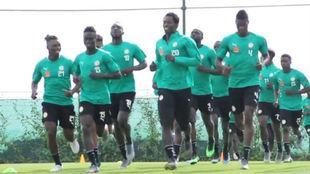 Senega, durante un entrenamiento de preparación para la Copa África.