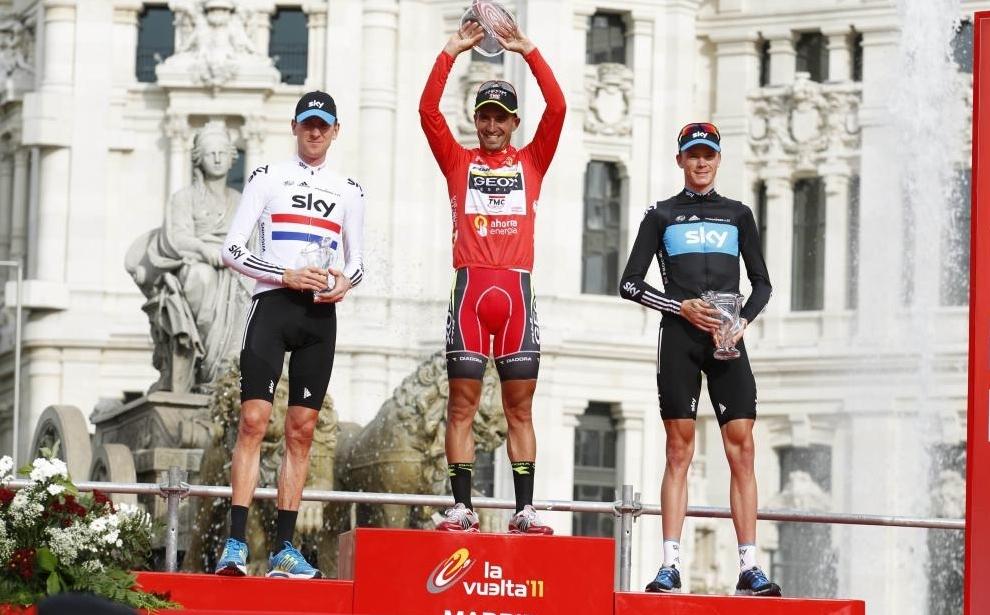 Podium de la Vuelta a España 2011 con Froome en segunda posición.