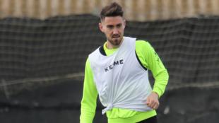 Moi Gómez en un entrenamiento con el Huesca
