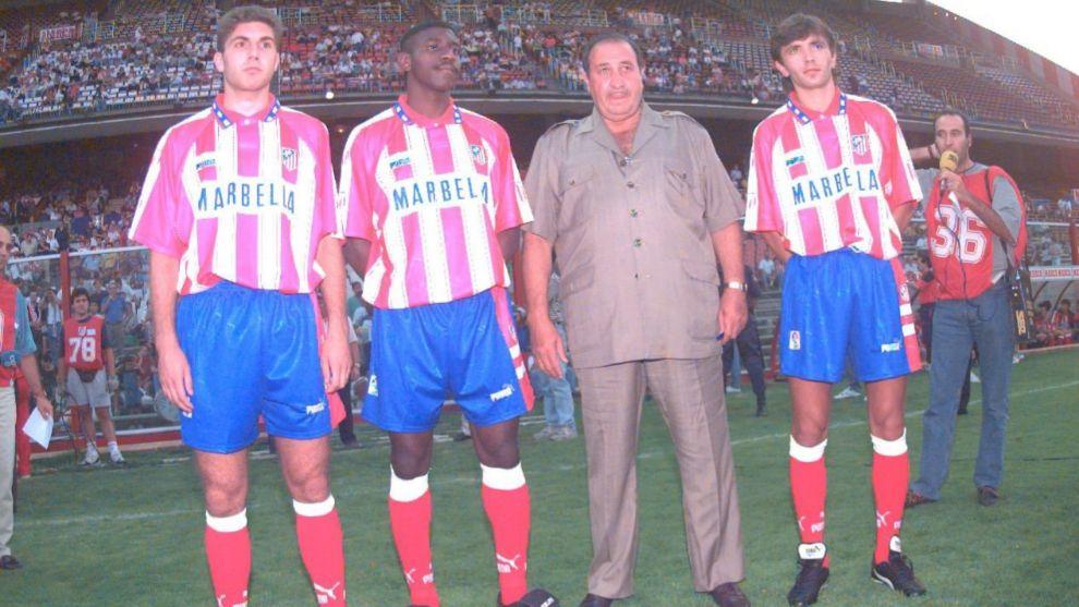 'Tren' Valencia junto a Jesús Gil, Geli y Dobrovolski