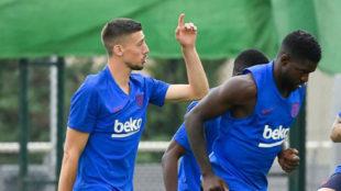 Umtiti y Lenglet, durante el entrenamiento.