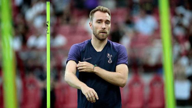 Christian Eriksen, en un entrenamiento del Tottenham en pretemporada.