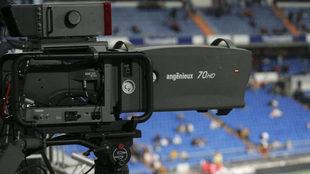 Imagen de una cámara en el Santiago Bernabéu