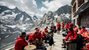 Plantilla del conjunto alemán en los Alpes