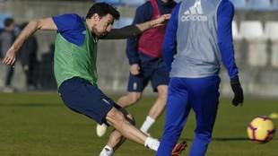Toché, durante un entrenamiento del Oviedo