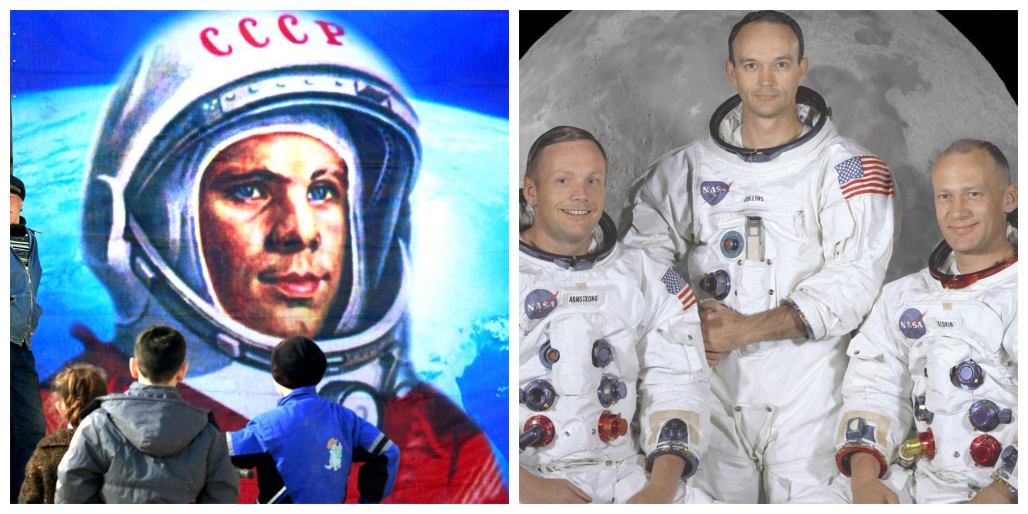 Yuri Gagarin y la tripulación del Apolo XI