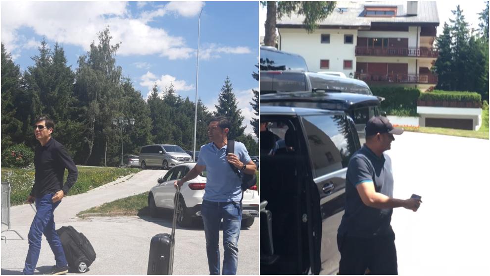 Alemany, Marcelino y Anil Murthy a su llegada al hotel de...