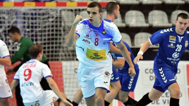 Eduardo Cadarso celebrando su primer gol en el Mundial /