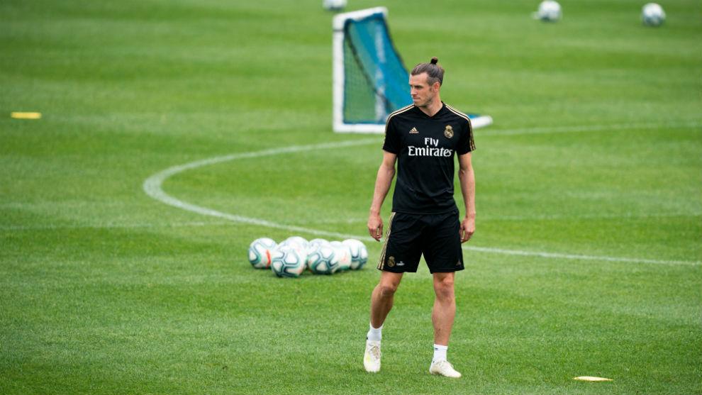Bale, en un entrenamiento del Madrid en Montreal