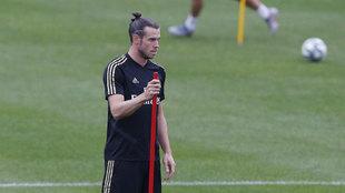 Bale, en un entrenamiento de esta temporada.