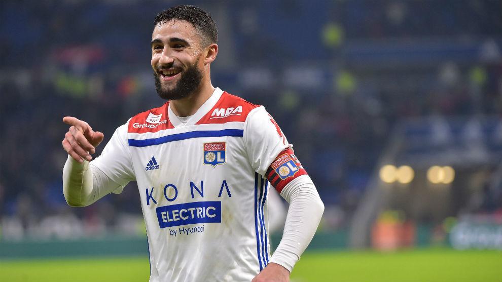 Fekir celebrates a goal for Lyon.