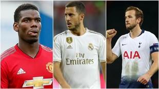 Paul Pogba (26), Eden Hazard (28) y Harry Kane (25).