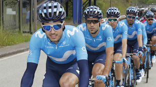 El equipo Movistar Team del Giro de Italia 2019.