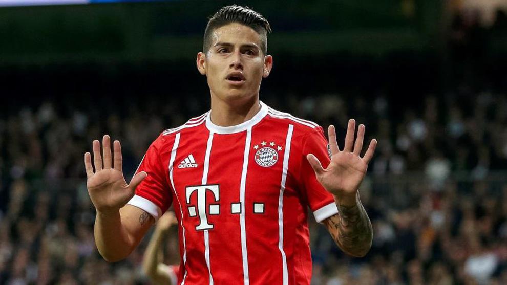 James, tras marcar un gol al Madrid con el Bayern