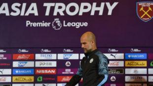 Pep Guardiola (48), en la rueda de prensa previa al partido ante el