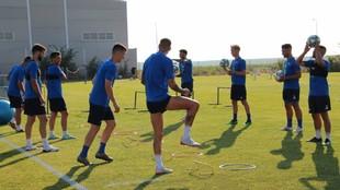Josema, en un entrenamiento con el Extremadura