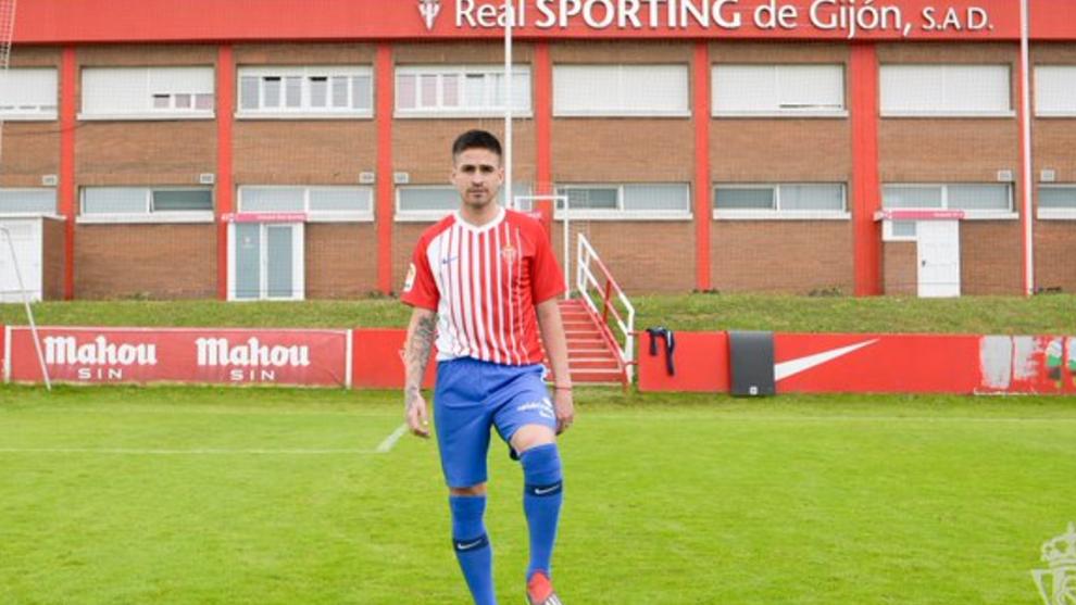 Damián en su presentación como futbolista del Sporting