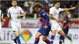 Griezmann, en su estreno en el Barcelona contra el Chelsea.
