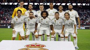 Los jugadores del Madrid, posando antes del partido ante el Bayern